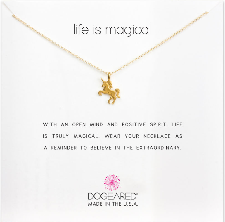 life is magical unicorn necklace, gold dipped